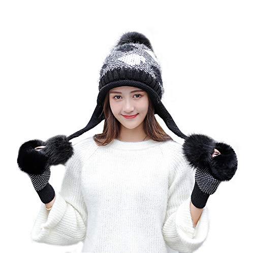 bddd48bb37f IRELIA Womens Winter Faux Fur Pom Fleece Lined Beanie Caps Gloves Set