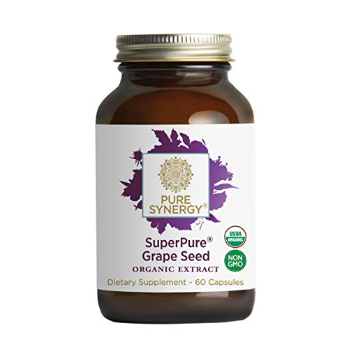 Pure Synergy USDA Organic SuperPure Grape Seed Extract (60 Capsules) w/Proanthocyanidins for Antioxidant Support