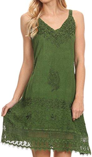 Sakkas 1107 - Ameelynn Short Embroidered Batik Festival Sleeveless Spaghetti Strap Dress - Green - S/M (Hippie Green)