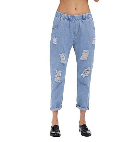 Dexinx Simple en Jeans Femmes Pantalons Bleu Denim Recadres d't Air Plein Ripped Standard Vrac en Clair rvxrf5q