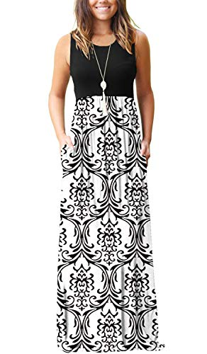 - MOLERANI Women's Casual Loose Long Dress Sleeveless Floral Print Maxi Dresses with Pockets Black White 2XL