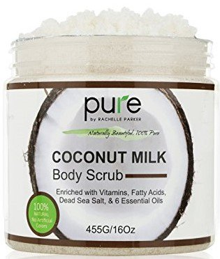 PURE Organic Coconut Milk Body Scrub with Dead Sea Minerals, 16 Oz. – Deep Moisturizing & Nourishing, Exfoliates, Clears Eczema, Removes Wrinkles, Rejuvenates & Leaves Skin ()