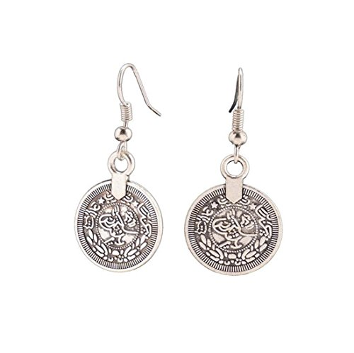 Andyle Vintage Tibetan Silver Round Coin Embossed Dangle Drop Hook Earrings