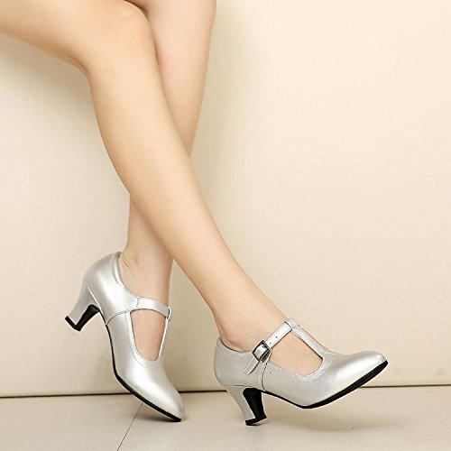 KPHY Zapatos de Baile Latino de Cuero para Mujer Adulto Suave Inferior para Danza Cuadrada Zapatos de Baile en Primavera y Otoño y Que los Zapatos de Baile de la Amistad, 35 38