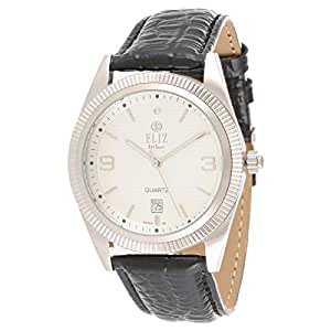 Eliz Men's Off White Dial Leather Band Watch - 7681