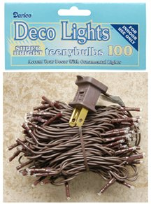 Mini Lights Teeny Bulbs Strand Brown Cord Country Primitive Craft Floral Décor