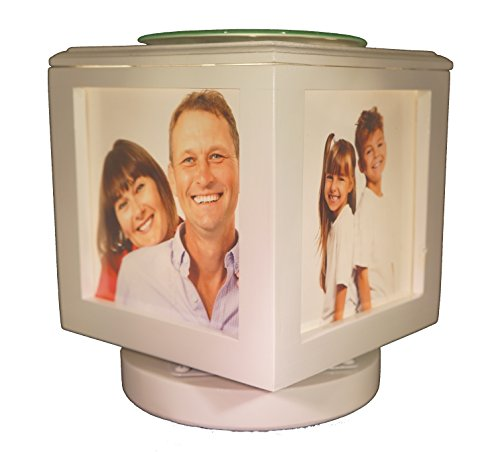 Memory Box Picture Frame Lamp and Electric Wickless Candle Wax Melt Warmer or Oil Burner Combo - Add Your Own Photos! (White Lamp No Photos)