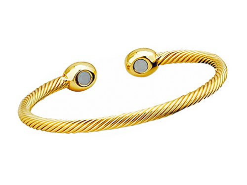 MO SI YI Magnetic Bracelet for Women and Men,Arthritis Therapy Wristband Bracelets for Occupational Pain Relief (Twisted Cable Gold)