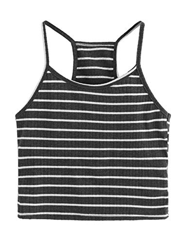 SheIn Women's Summer Basic Sexy Strappy Sleeveless Racerback Crop Top Small Dark Grey#1 ()