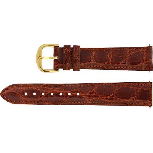Men's 18 mm Regular Brown Genuine Crocodile Padded Watch Strap ()