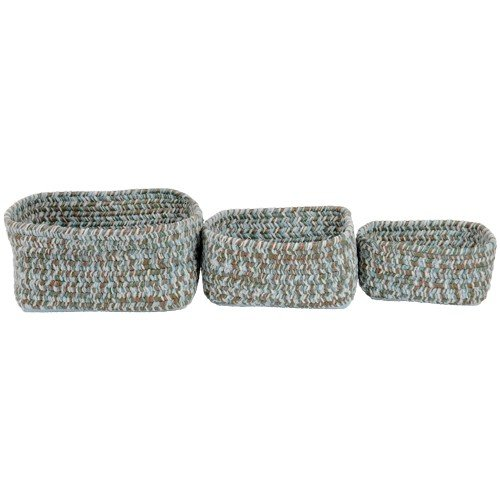 Woodland Colored Braided Chenille Soft Storage Nesting Bins Set of 3