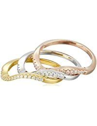 Set of 3 Wave with Rose and Yellow Gold Plated, Sterling Silver Cubic Zirconia Stackable Ring