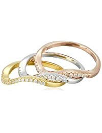 Set of 3 Wave with Rose and Yellow Gold Plated, Sterling Silver Cubic Zirconia Stackable Ring, Size 6