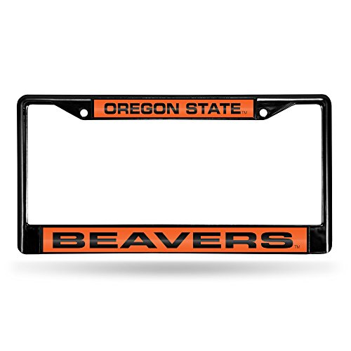 Rico Industries NCAA Oregon State Beavers Laser Cut Inlaid Standard Chrome License Plate Frame, 6