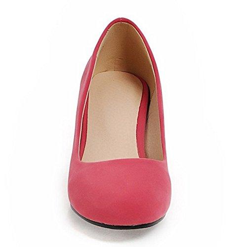 COOLCEPT Mujer Moda sin Cordones Boca Baja Zapatos Tacon Ancho Alto Bombas Zapatos Fiesta Zapatos Rojo