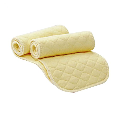 Disposable Pads Insert (10 Pcs Baby Cotton Cloth Diaper Washable Reusable 3 Layers Nappy Liners Inserts Changing Pad Covers for Pocket Diaper (Yellow))