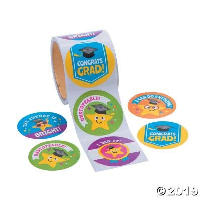 Fun Express Elementary Grad Roll Stickers - 1 Piece - Educational and Learning Activities for Kids: Toys & Games