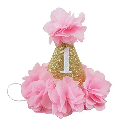 PoshPeanut Beautiful Baby Crown Headband Princess First Birthday Cone Hat Sparkle Hot Pink and Gold Made in the - To Gold Minecraft Get How