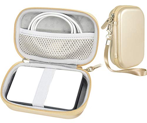 CaseSack Travel Pouch Case with Zipper for Polaroid ZIP Mobile Printer and HP Sprocket, Gold