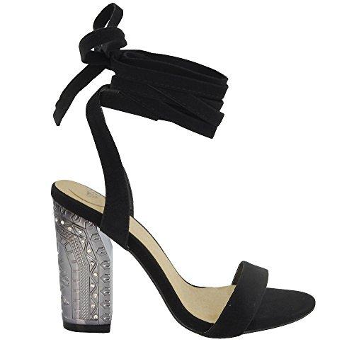 ESSEX GLAM Gamuza Sintética Sandalias de tacón cuadrado medio con tira al tobillo y cordones Negro Gamuza Sintética
