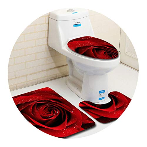 - 3Pcs Bath Mats Set Anti-Slip Absorbent Bathroom Rug Rose Pattern Pedestal Rug Toilet Mat Lid Cover Carpet,Rose 05,3Pcs