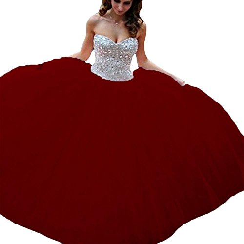 Women's Sweetheart Crystals Strapless Ball Gown Sweet 15 16 Quinceanera Dresses Burgundy US4 ()