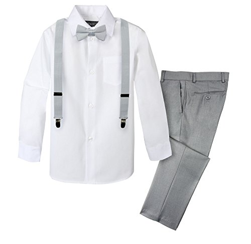 Spring Notion Boys' 4-Piece Suspender Outfit 10 Light Grey/Grey