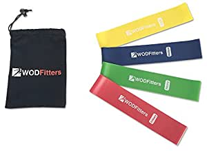 """WODFitters Mini Bands - Resistance Loop Exercise Workout Fitness 4 Bands with Carry Bag - Can Be Used as Fidget Bands (10"""", 4 Pack)"""