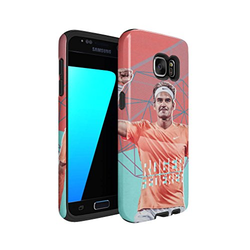 Roger Federer Victorious Hybrid Hard Plastic Outer & TPU Inner Layer Shock Absorbing Tough Protective Phone Case Cover Shell For Samsung Galaxy (Roger Federer Hybrid)