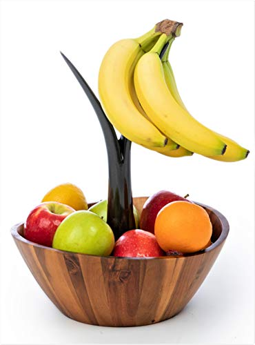 Casa Bellante Acacia Wooden Fruit Bowl with Banana Hanger, 15-Inch Wide, Brown