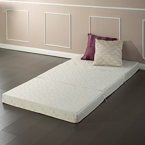 Floor Mat Tri Fold Twin (Zinus Memory Foam 4 Inch Tri-Fold Comfort Portable Folding Mattress or Floor Mat)