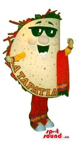 Mexican Taco Mascot SpotSound US Dressed In Sunglasses And Mariachi - Taco Sunglasses