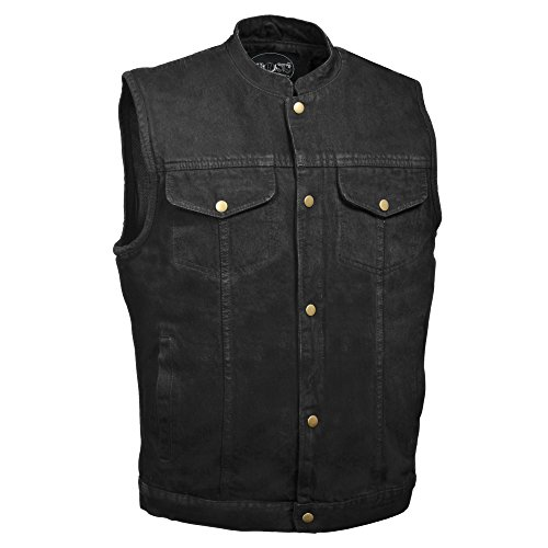 M-Boss Apparel - BOS13520 - Men's Snap Front Denim Club Style Vest w/Gun Pocket-BLACK-4XL