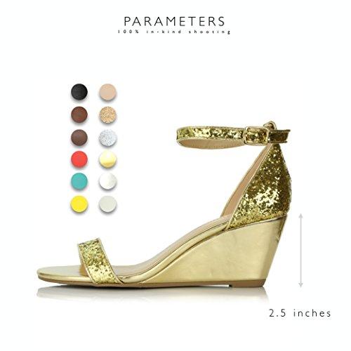 Dailyshoes Donna Moda Estate Design Cinturino Alla Caviglia Fibbia Bassa Zeppa Piattaforma Sandali Con Tacco Scarpe Glitter Oro