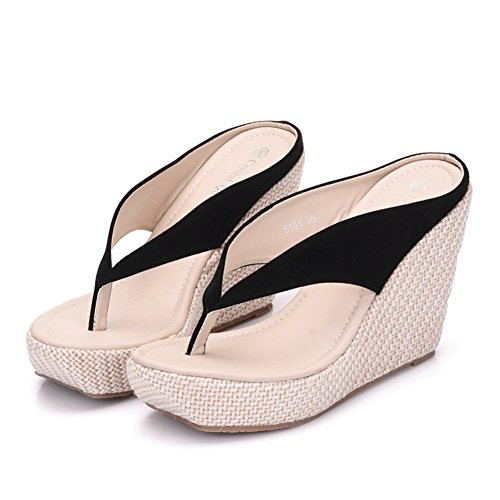Crystal Queen Women Beach Sandals Platform Wedges Sandals High Heels Wedges Slippers Flip Flops White Flip Flops Plus Size (41 M EU / 9 B(M) US, ()