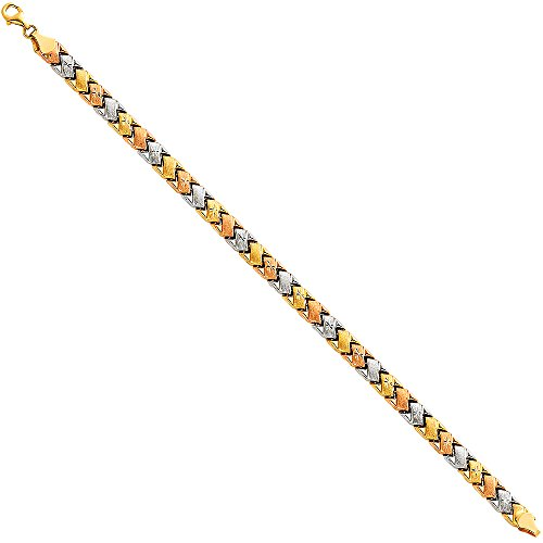 (Paradise Jewelers 14K Tri-Color Gold Light Fancy Stampato Bracelet, 7.25 Inches )