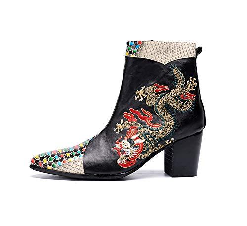 Cowboy Bottes Motif Et L'hiver Pour Casual Design Courtes Rock En Eu37 L'automne Hommes Knight Shose Classiques Pointu Chaussures Singer Cuir Dragon Toe Chaudes crIHqr