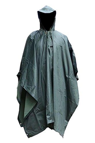 Msmsse Men's Rain Poncho Outdoor Multifunction Military Raincoat Army Green Military Raincoat