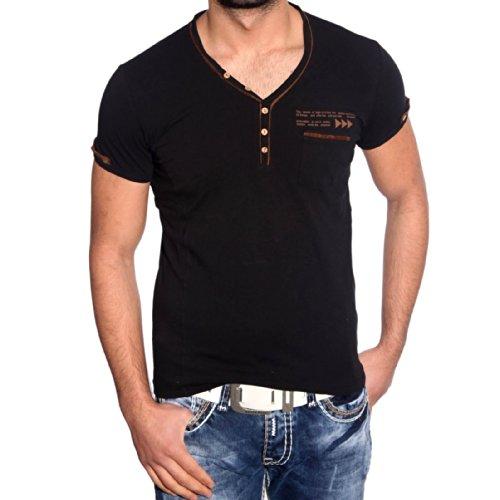 T-Shirt Poloshirt für Herren Männer Jungs Jungen A16625RN, Größe:L, Farbe:Schwarz