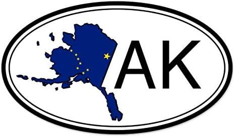 "3 Pack Alaska Map Flag AK Home State Permanent Vinyl Decal Bumper Sticker 8/"""