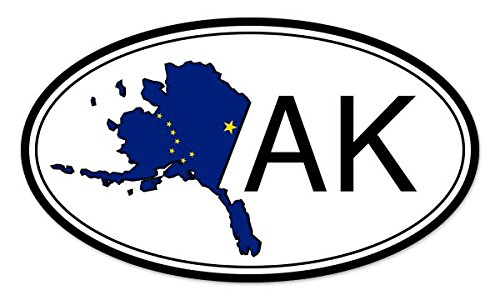 State Flag Oval Decal (Alaska State Flag Oval Vinyl Sticker - Car Window Bumper Laptop - SELECT SIZE)