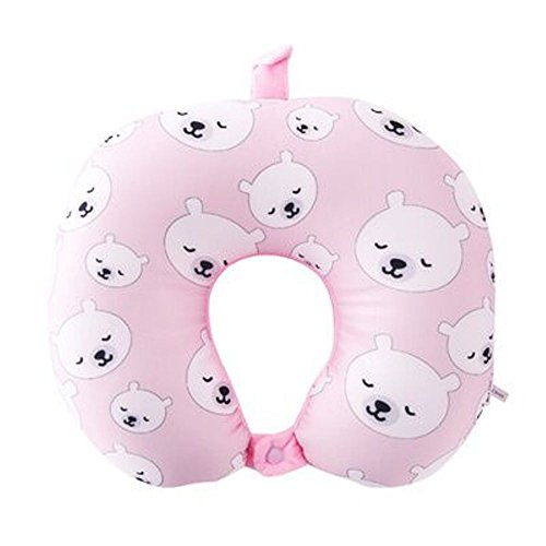 Staroyal Neck Pillow Polyester Cloth, Partical Cotton Comfortable Travel Pillow For Car Office Airplane Travel, U Shaped, Pink Pear