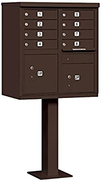 Type I 8 A Size Doors Salsbury Industries 3308BLK-P Cluster Box Unit with Pedestal and Master Locks Black