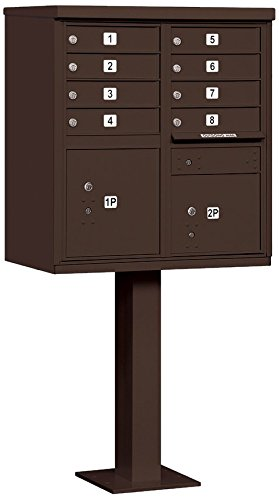 Salsbury Industries 3308BRZ-P Cluster Box Unit with Pedestal and Master Locks, 8 A Size Doors, Type I, (Cluster Box)