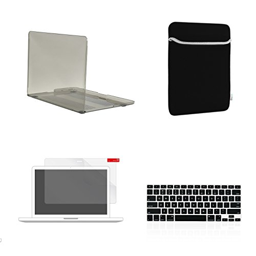 TOP CASE 4 in 1 - Crystal Hard Case + Sleeve Bag + Keyboard Cover + Screen Protector Compatible with MacBook Pro 13