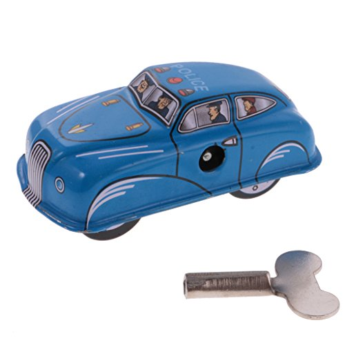 MagiDeal Blue Classic Police Car Tin Toy Collectible Clockwork Wind Up Toys for Kids