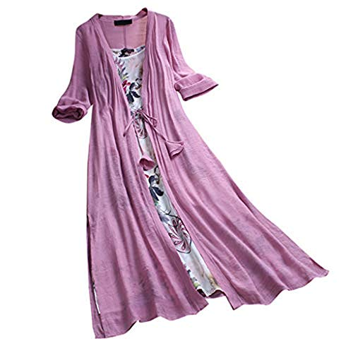 Women Dresses Summer 3/4 Sleeve O-Neck Midi Dress Vintage Boho Floral Lace Up Two-Piece Casual Beach Maxi Dress Pink