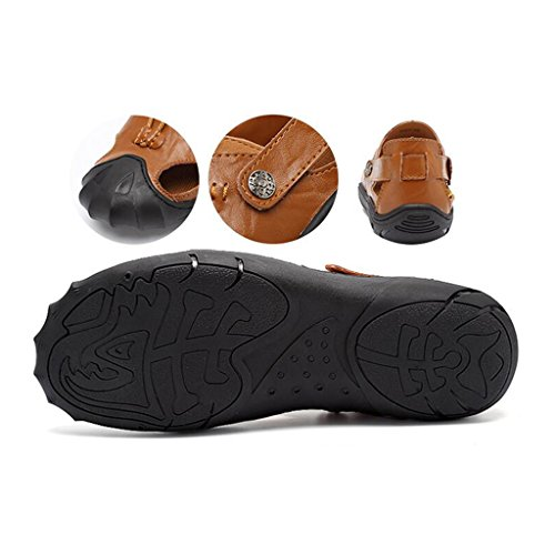 LE Shoes Leather Sandali Baotou Outdoor LE Sandali Uomo Shoes KAI Brown Casual da zU6y5xwxq