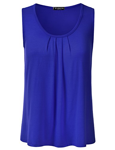 - EIMIN Women's Pleated Scoop Neck Sleeveless Stretch Basic Soft Tank Top RoyalBlue L