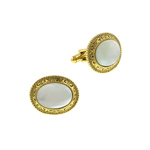 Vintage 1928 Costume Jewelry (1928 Jewelry Unisex Gold Tone Mother-Of-Pearl Oval Cuff Links)